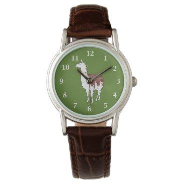 PandaCatGallery Hand Drawn Llama U-Pick Background Color Wrist Watch