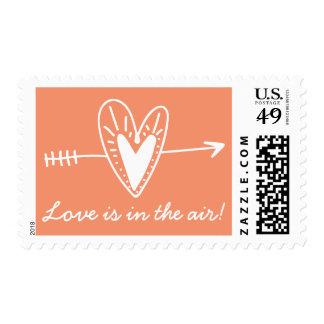 Hand Drawn Love Heart Orange & White Wedding Postage Stamp