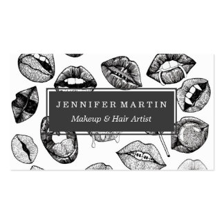 Hand Drawn Luscious Lips in Black and White Business Card