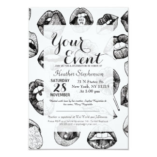 Hand Drawn Luscious Lips in Black and White Card