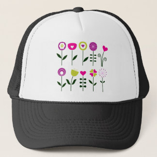 Hand drawn luxury Flowers with Black Trucker Hat