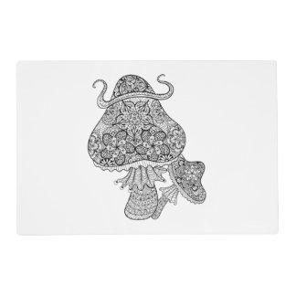 Hand Drawn Magic Mushrooms Doodle Placemat
