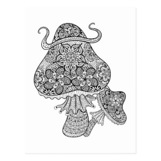 Hand Drawn Magic Mushrooms Doodle Postcard