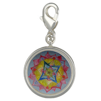 Hand Drawn Mandala Round Charm, Silver Plated Charms
