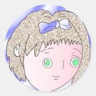 Hand-drawn manga character sticky classic round sticker