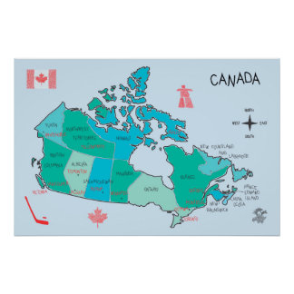 Hand-drawn map of Canada with illustrations Poster