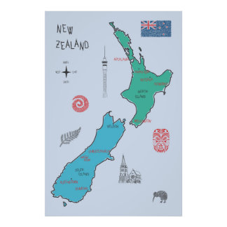 Hand-drawn map of New Zealand Poster