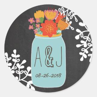 Hand Drawn Mason Jar Flowers Chalkboard Monogram Round Stickers