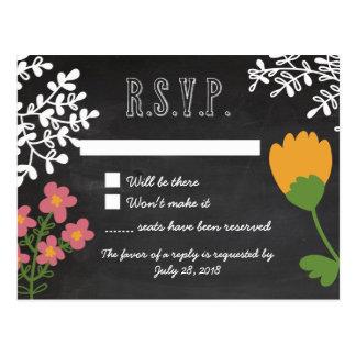 Hand Drawn Mason Jar & Flowers on Chalkboard RSVP Postcard