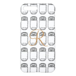 Mason jar iphone cases covers zazzle hand drawn mason jar pattern iphone 8 plus7 plus case pronofoot35fo Images