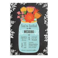 Hand Drawn Mason Jar with Flowers on Chalkboard Card