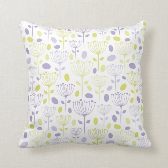 Hand Drawn Modern Purple and Lime Flowers Throw Pillow