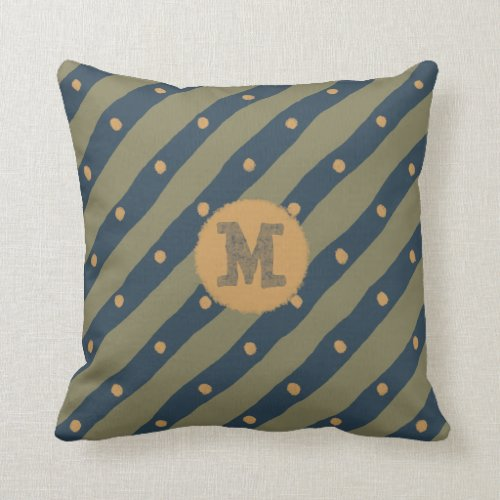 Hand drawn monogram stripes dots blue gold green throw pillow
