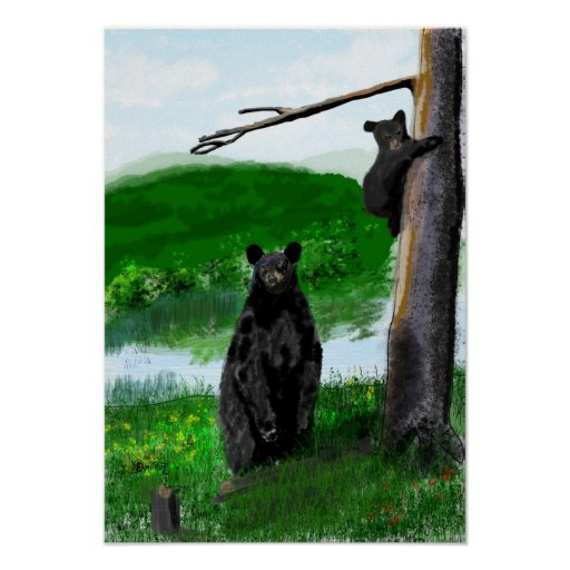Hand drawn mother bear and cub. print