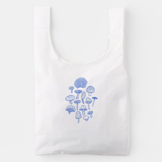Hand Drawn Mushrooms Collage Reusable Bag