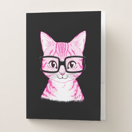 Hand Drawn Nerdy Cat Art Folder Set of 5