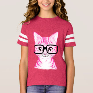Hand Drawn Nerdy Cat Girl's Pink Football Tee