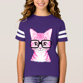 Hand Drawn Nerdy Cat Girl's Purple Football Tee