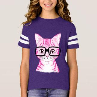 Hand Drawn Nerdy Cat Girl's Purple Football Tee