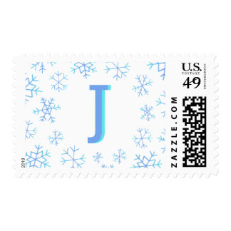 Hand Drawn Ombre Snowflake Monogram Postage Stamps