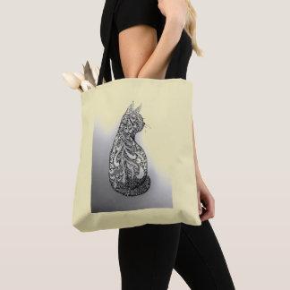 Hand-drawn original black and white ornamental cat tote bag