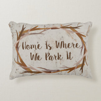 Hand-Drawn Oval Wood Branches Frame, Beige Brown Accent Pillow