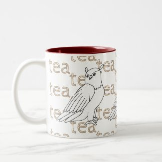 Hand-drawn Owl Tea Drink Customizable Art Drawing Two-Tone Coffee Mug