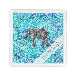 Hand drawn paisley boho elephant blue turquoise acrylic tray