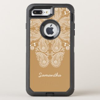 Hand Drawn Paisley Pattern on Gold,