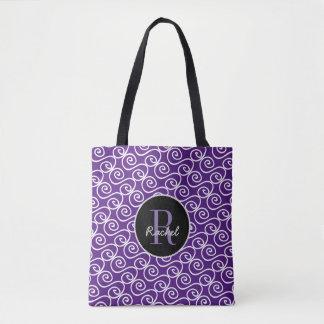 Hand Drawn Pattern, Monogrammed Tote Bag