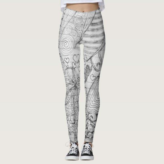 aa7000c1d5776 Hand Drawn Pencil Doodle Art on Lined Paper Leggings   Zazzle.com