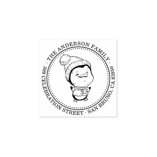 Hand_drawn Penguin Round Christmas Return Address Rubber Stamp