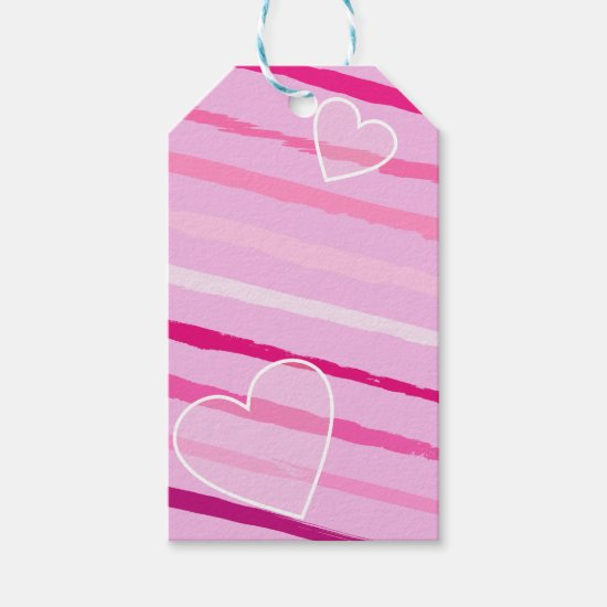 Hand Drawn Peppermint Valentine Stripes and Heart Gift Tags