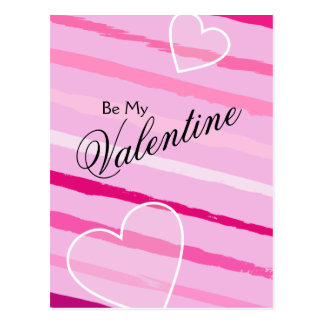 Hand Drawn Peppermint Valentine Stripes and Heart Postcard