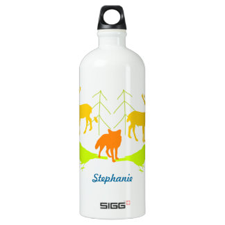 Hand Drawn Pine Tree Fox Bright Color Neon Pattern Aluminum Water Bottle