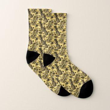 tropicaldelight Hand Drawn Pineapples Socks