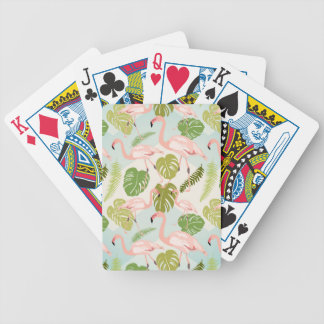 Hand drawn pink flamingo and monstera leaves. Seam Bicycle Playing Cards