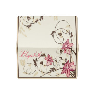 Hand Drawn Pink Flowers Checkbook Cover