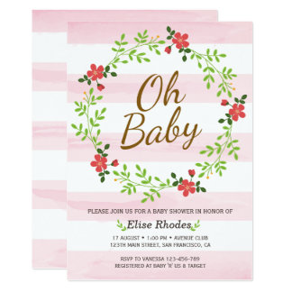 Hand drawn pink stripes flower wreath baby shower card
