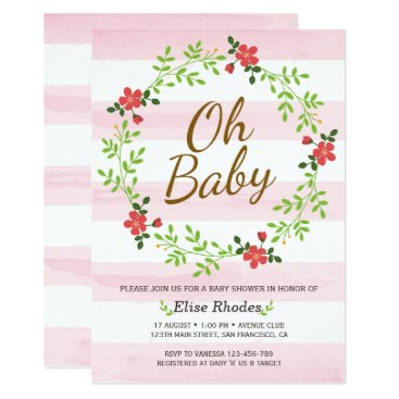oh baby shower floral gold black white stripes card - custom products, Baby shower invitations