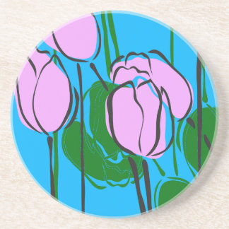 Hand Drawn Pink Tulips on Sky Blue Drink Coaster