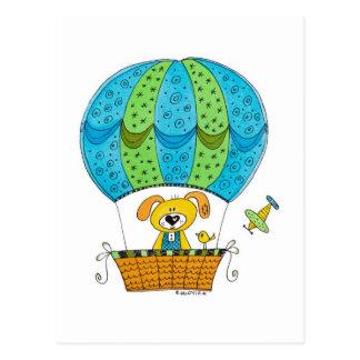 Hand Drawn Postcard - Dog in the Hot Air Balloon