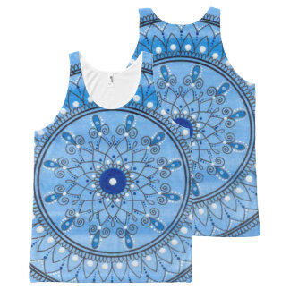 Hand Drawn Pretty Blue And White Mandala Flower All-Over-Print Tank Top