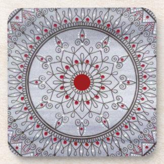 Hand Drawn Pretty Grey And Red Mandala Flower Beverage Coaster