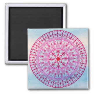 Hand Drawn Pretty Pink And Blue Mandala Flower 2 Inch Square Magnet