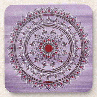 Hand Drawn Pretty Purple And Red Mandala Flower Drink Coaster