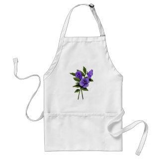 Hand Drawn Purple Pansies On White Adult Apron