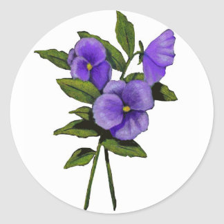 Hand Drawn Purple Pansies On White Classic Round Sticker