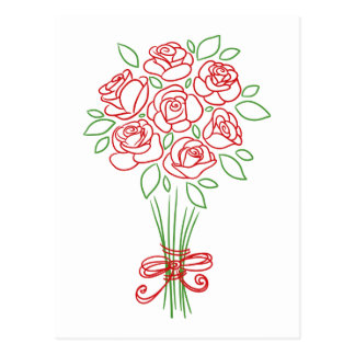 Hand Drawn Red Rose Flower Blank Floral Post Card
