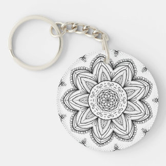 Hand Drawn Ribbon Mandala - Black & White Round Keychain